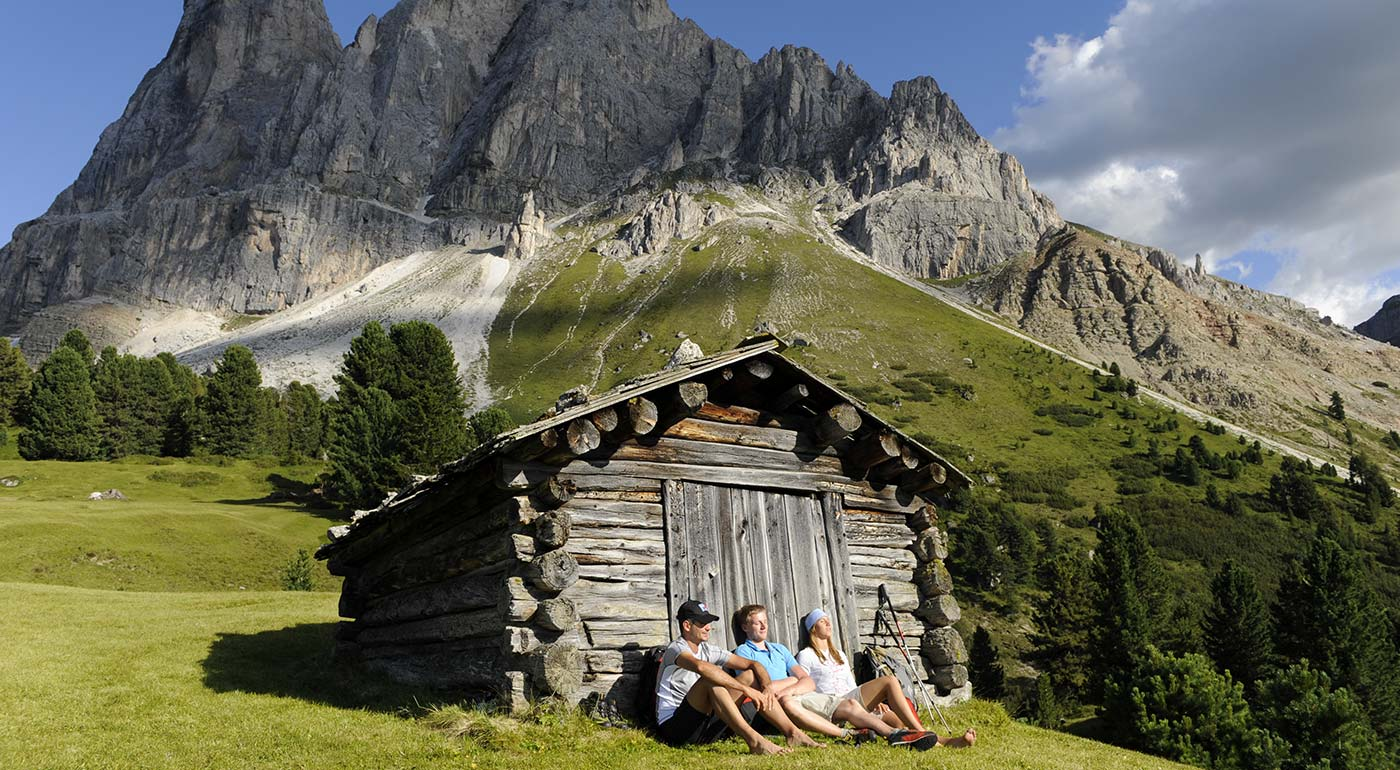 Mountain hut in Pustertal-Val Pusteria with mountains in the background